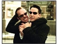 """""""The Matrix Reloaded"""" Movie still: Hugo Weaving And Keanu Reeves"""