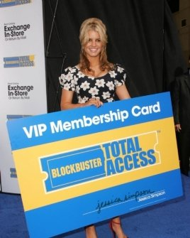"Jessica Simpson at a press conference to announce Blockbuster Video's ""Total Access"" Service"