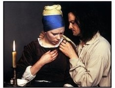 """""""Girl with a Pearl Earring"""" Movie still: Scarlett Johansson and Colin Firth"""