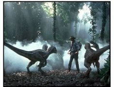 Jurassic Park III Movie Still: Sam Neill and raptors
