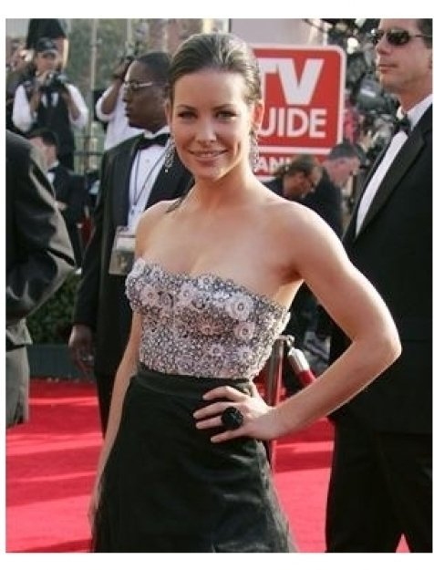 Evangeline Lilly on the red carpet at the 57th Annual Primetime Emmy Awards